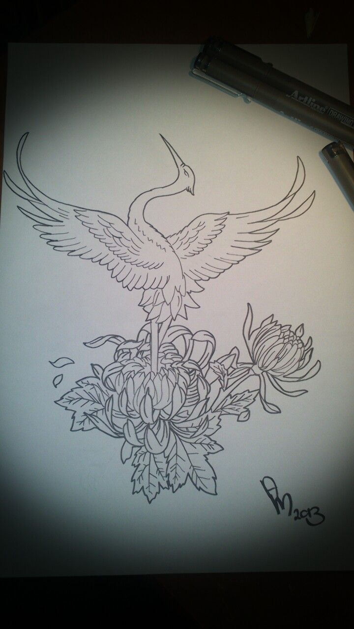 19  amazing crane tattoo designs