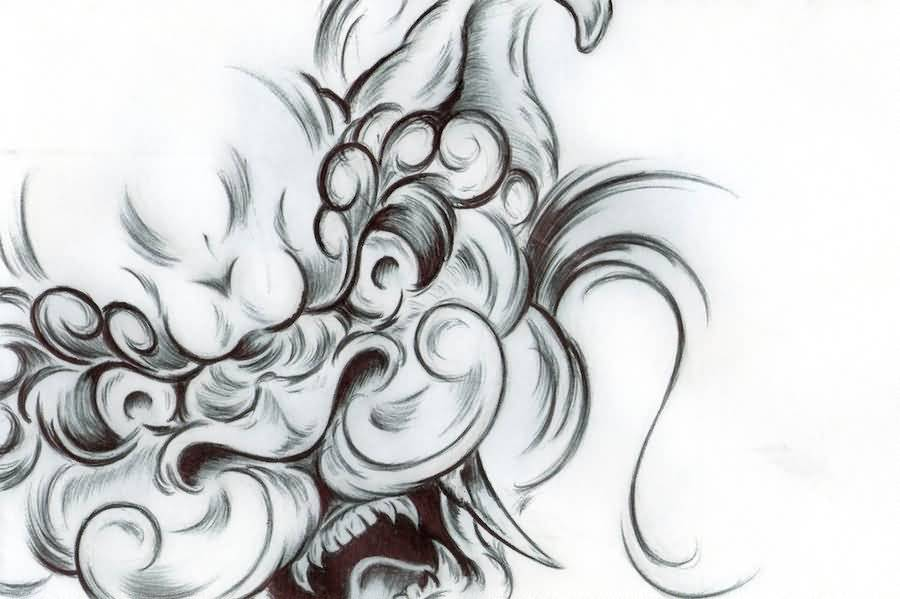 Line Art Dog Tattoo : Karajishi botan foo dog tattoo design by deutschland
