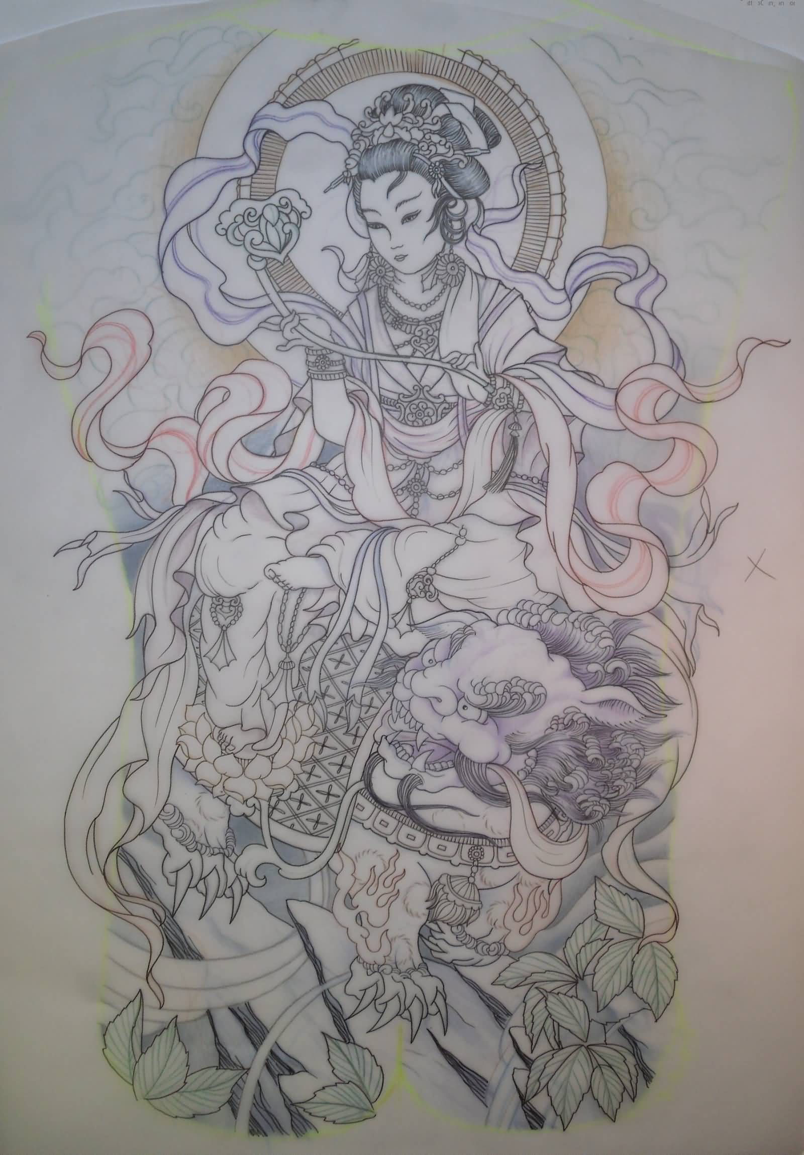 Foo Dog With Japanese Lady Tattoo Design