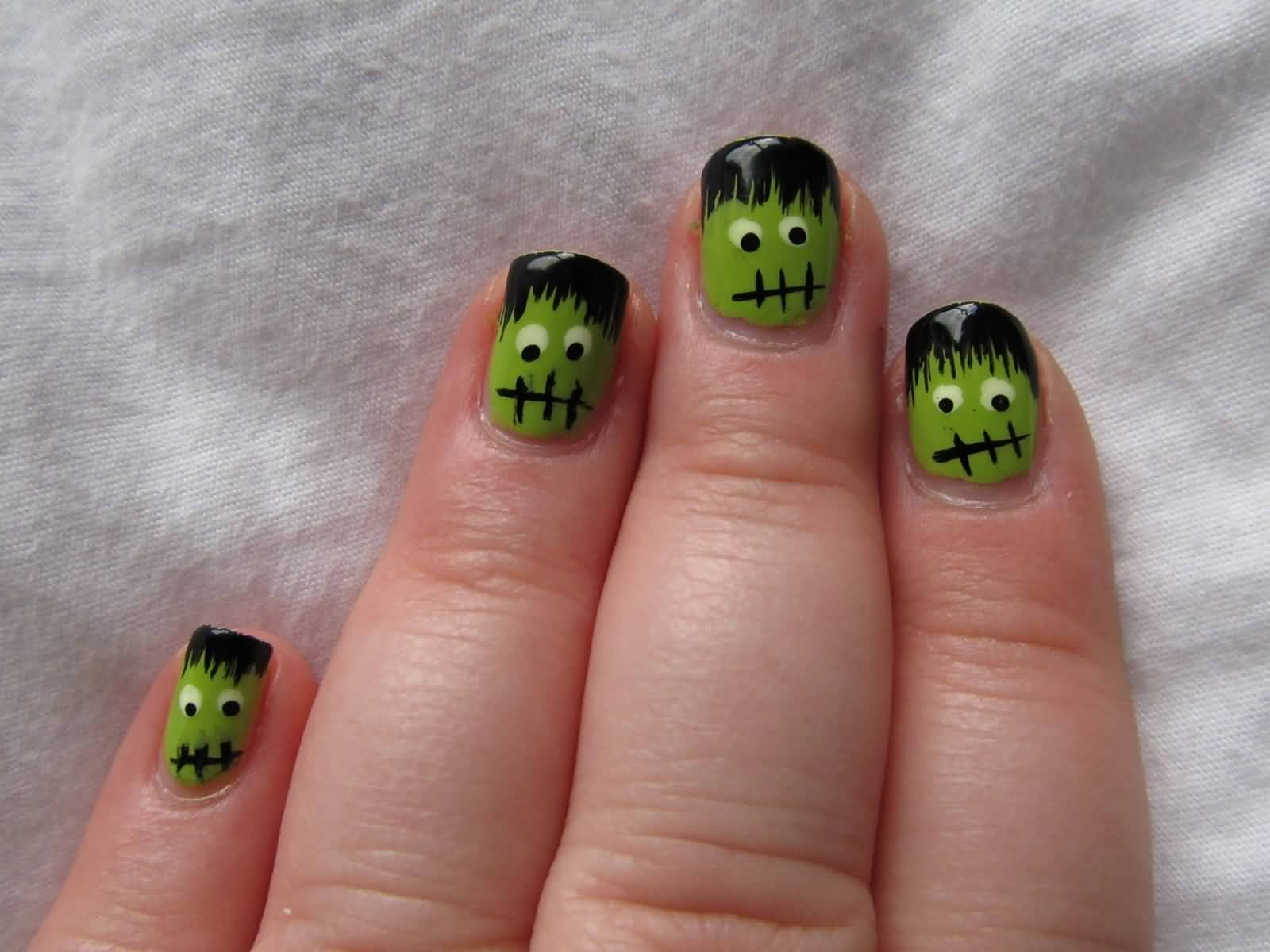 55 latest halloween nail art designs frankenstein halloween nail art for short nails prinsesfo Gallery