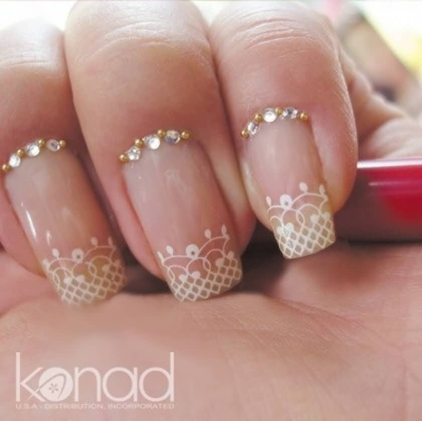 French Tip Lace Wedding Nail Design Ideas