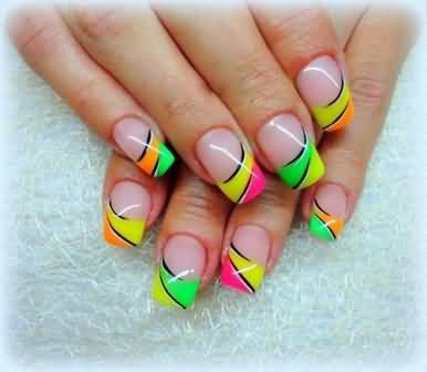 French Tip Neon Design Nail Art