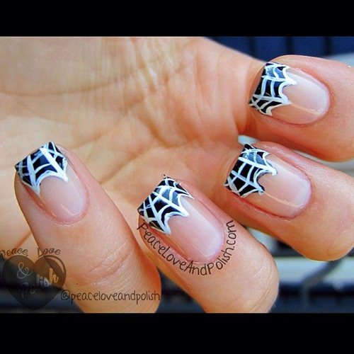 50 most beautiful spider web halloween nail art designs french tip spider web halloween nail art prinsesfo Image collections