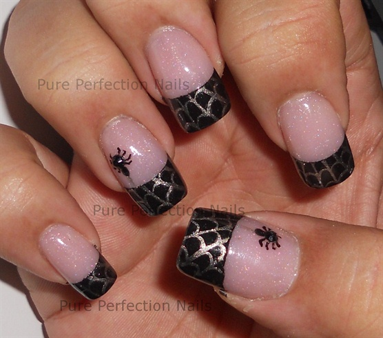 French Tip Spider Web Stamping Halloween Nail Art - 50 Most Beautiful Spider  Web Halloween Nail - Spider Nail Design Graham Reid