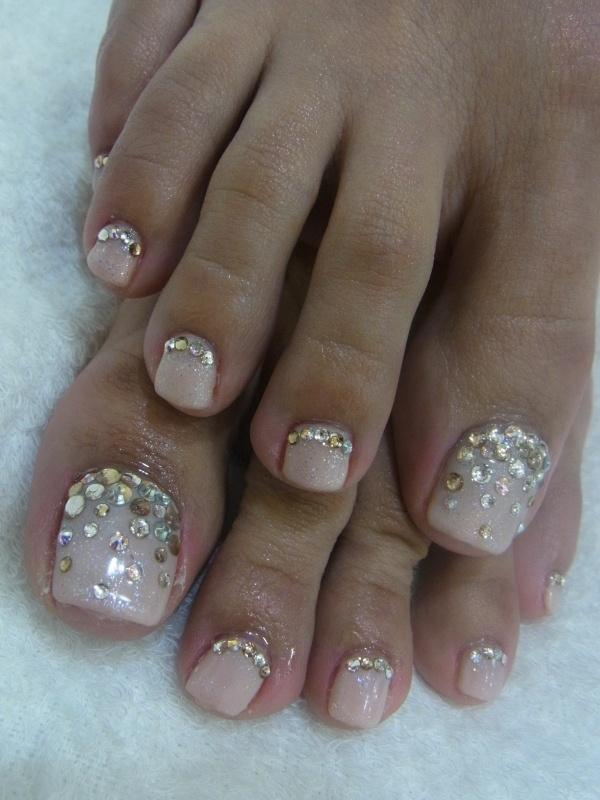 Gemstones Design Wedding Toe Nail Art