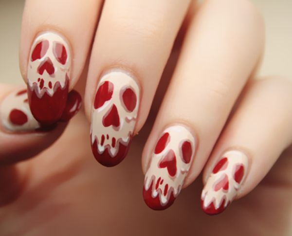 50 cool halloween nail art design ideas ghost face on red nails halloween nail art prinsesfo Image collections