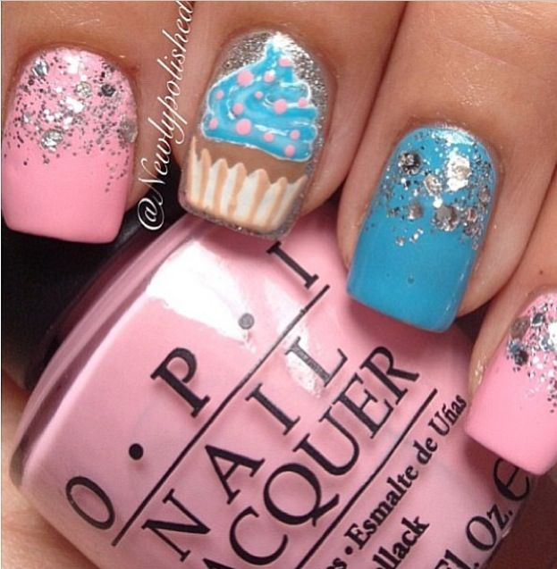 51 wonderful cupcake nail art design ideas for girls glitter nails with accent cupcake nail art prinsesfo Image collections
