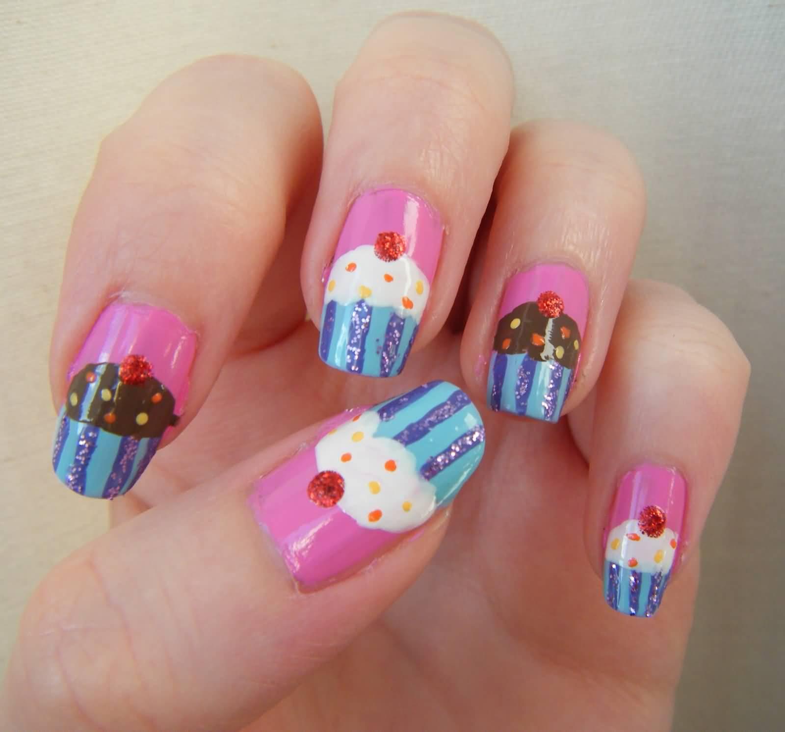 51 Wonderful Cupcake Nail Art Design Ideas For Girls
