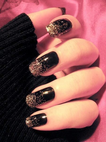 Glossy black nails with gold glitter french tip design idea prinsesfo Images