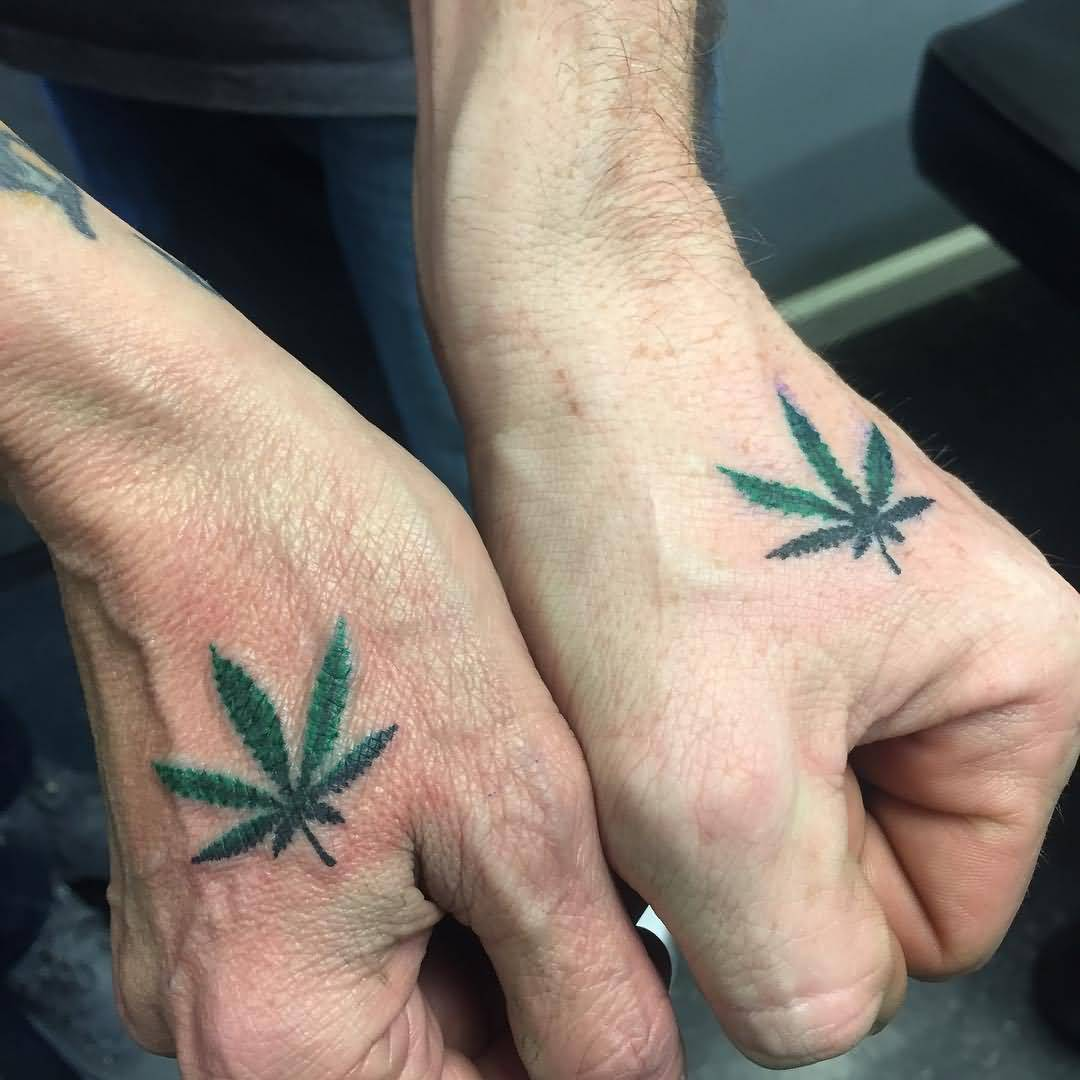 fd1fc57d47520 Green Color Small Leaf Matching Tattoos On Hands