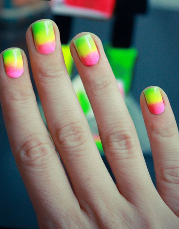 40 latest neon nail art designs green yellow and pink neon ombre nail design prinsesfo Gallery