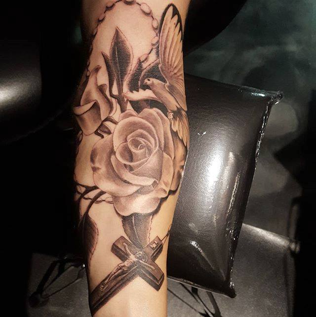 Grey Rose And Cross Tattoo On Sleeve By Artistic Element Tattoo