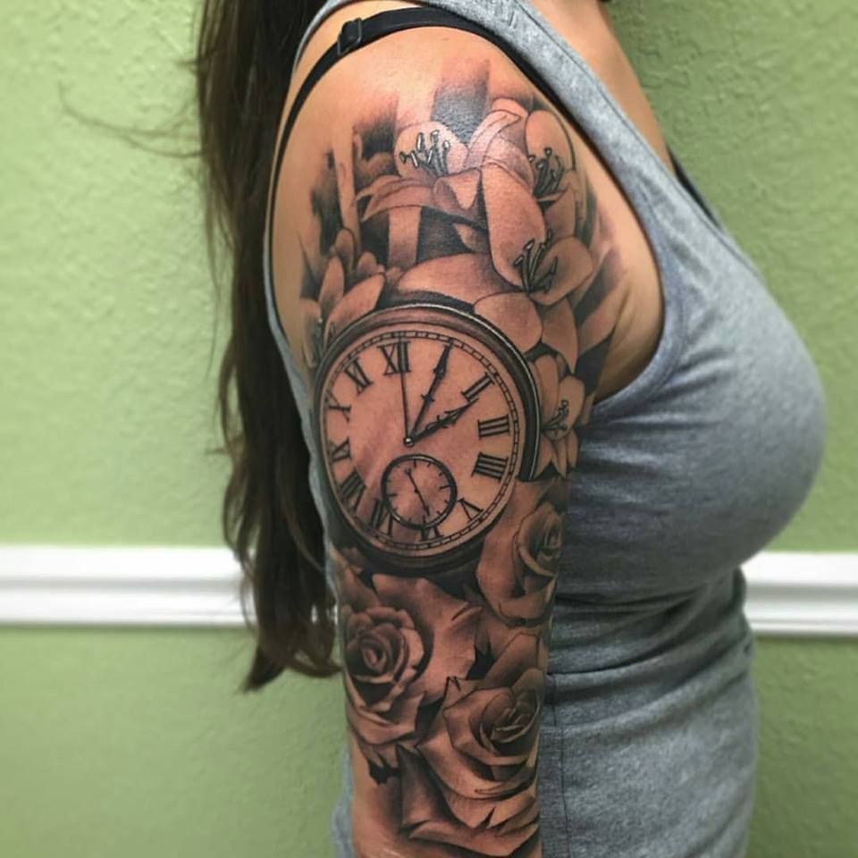 rose flowers and clock tattoo design by tattoosuzette. Black Bedroom Furniture Sets. Home Design Ideas