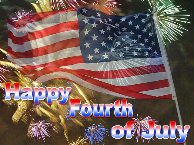 Happy Fourth Of July American Flag And Fireworks Picture