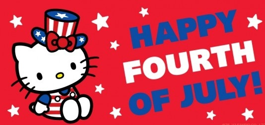 Hello Kitty Wishing You Happy Fourth Of July