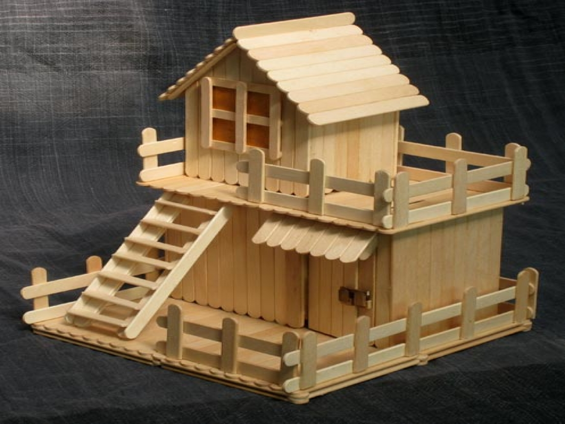 23 beautiful craft created with popsicle sticks ice for Making hut with waste material