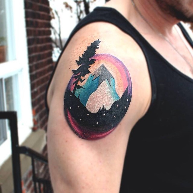 Abstract mountains tattoo