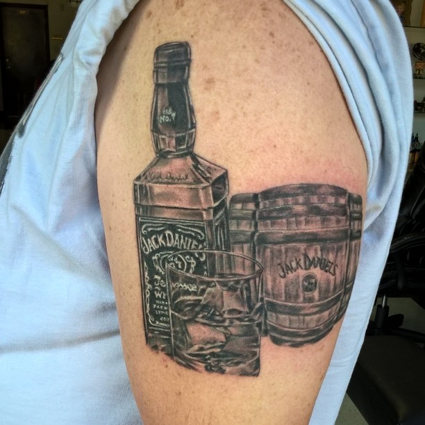 jack daniels tattoo on left thigh for men. Black Bedroom Furniture Sets. Home Design Ideas