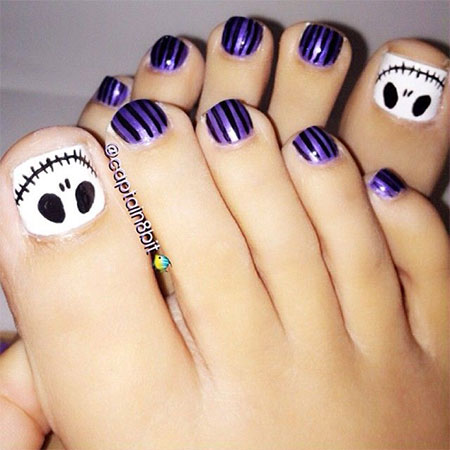 25 best halloween toe nail art designs jack skellington halloween toe nail art design ideas prinsesfo Choice Image