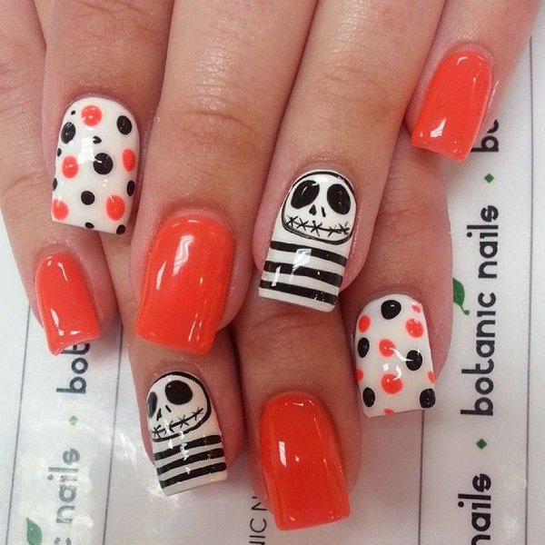 jack skellington and polka dots halloween nail art