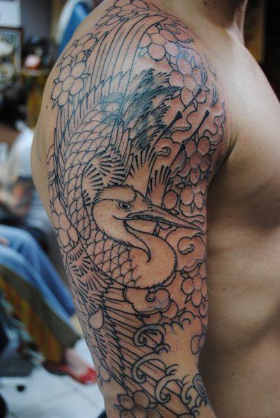 61+ Incredible Crane Tattoos - photo#2