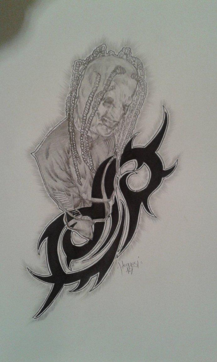 Slipknot member with wings tattoo on back leg for Tattoos slipknot logo