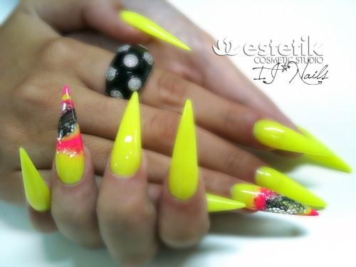 50 Latest Neon Nail Art Design Ideas French Tip Stiletto Nails With Design