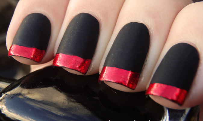 Matte Black Nail Art With Red French Tip Design