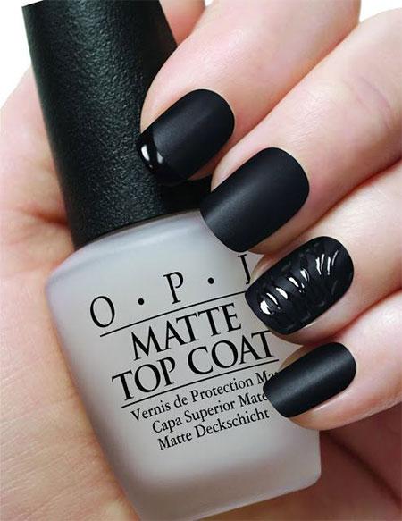 55 latest black nail art design ideas matte black nails art design prinsesfo Images