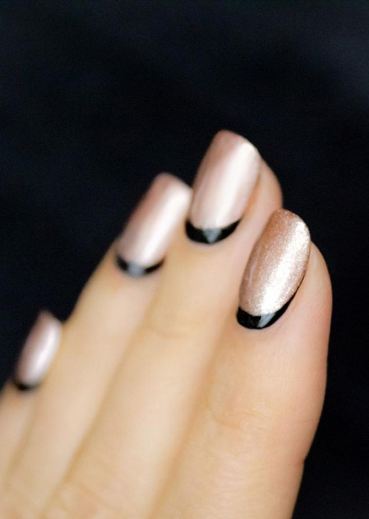 Metallic Nails With Black Reverse French Tip Nail Art Design