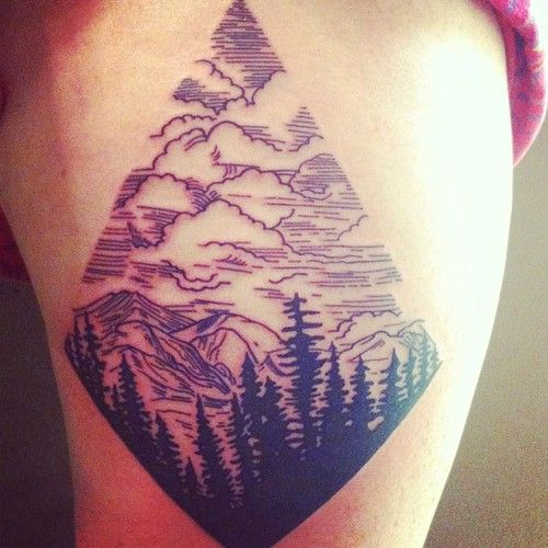 30 mountain with trees tattoos. Black Bedroom Furniture Sets. Home Design Ideas
