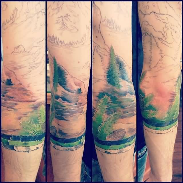 Outstanding black and grey mountains with pine trees in for Mountain tattoo sleeve