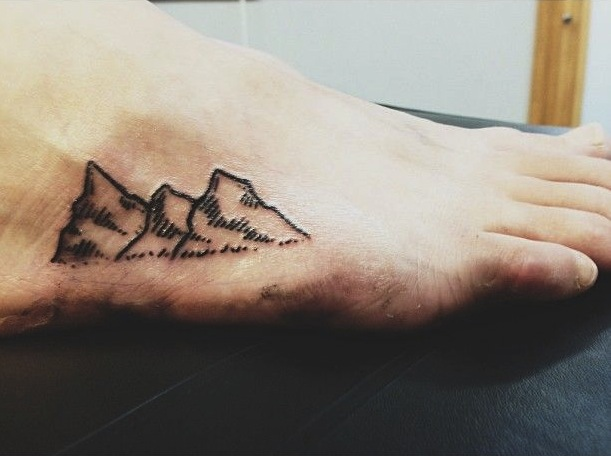 64 simple mountain tattoos collection for Simple foot tattoos