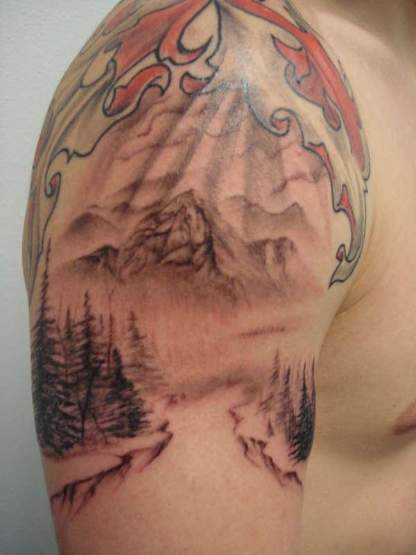 27 mountain tattoos on shoulder for Mountain man tattoo