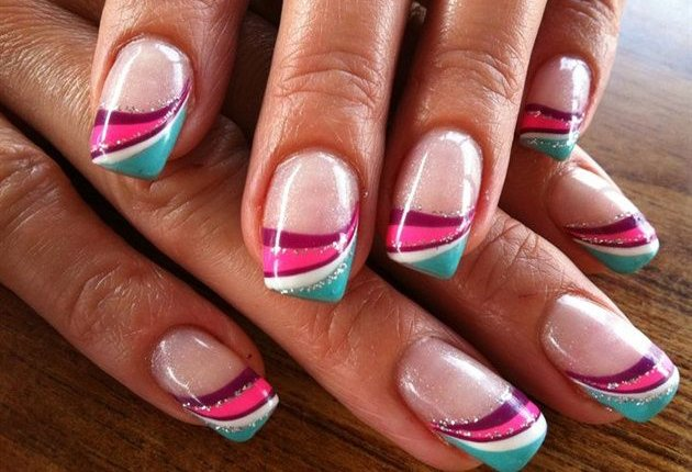 Multicolor French Tip Nail Art