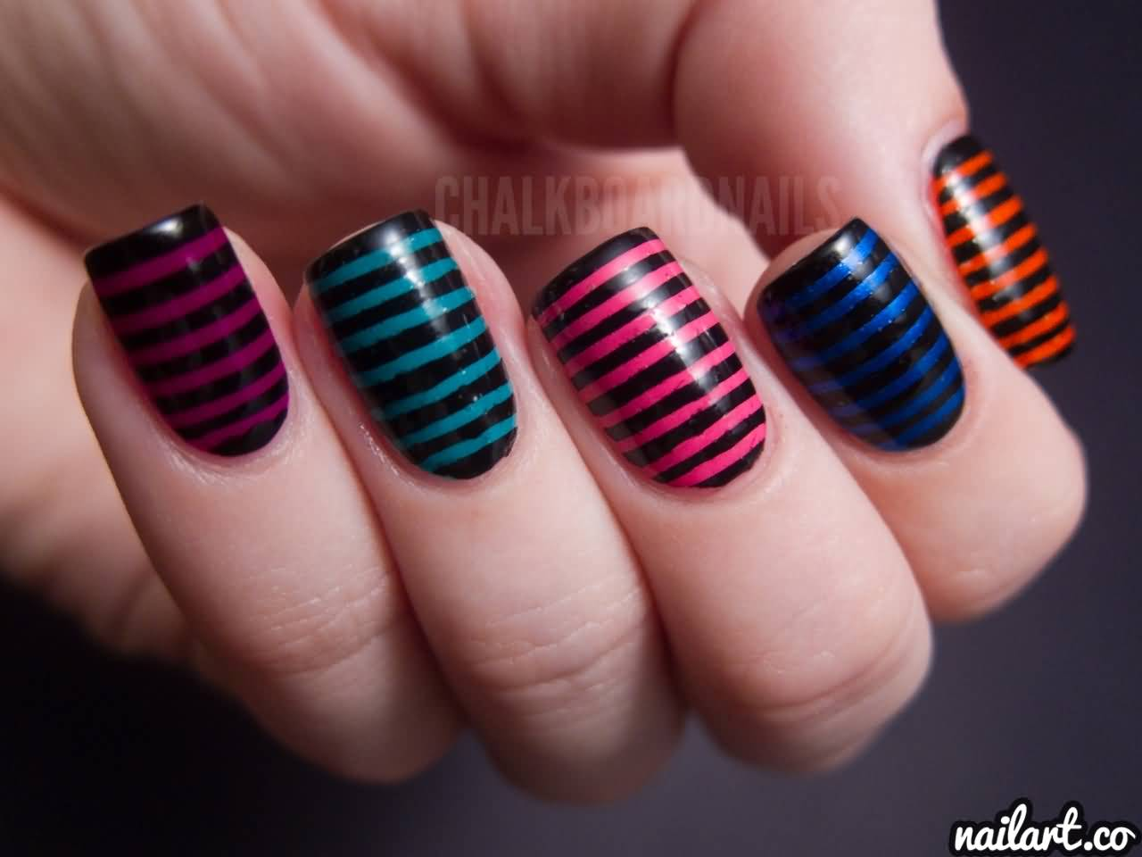 Multicolor nails with black stripes design nail art prinsesfo Choice Image