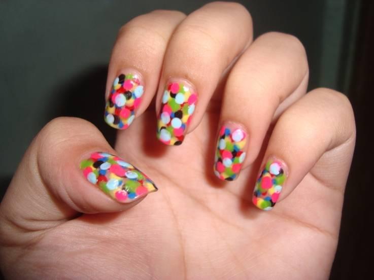 Multicolor polka dots nail art prinsesfo Gallery