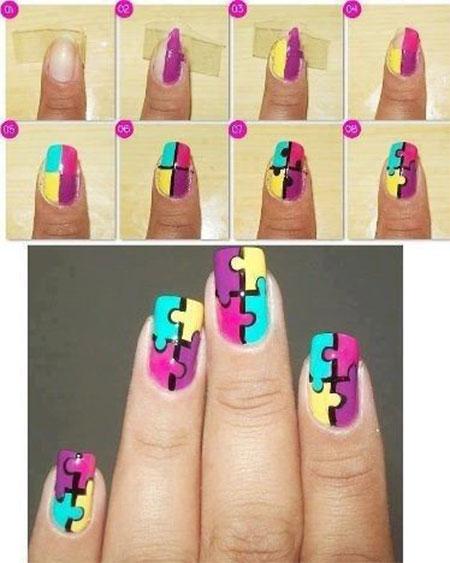 Multicolor Puzzle Pattern Nail Art Tutorial - 45 Most Beautiful Multicolor Nail Art Design Ideas