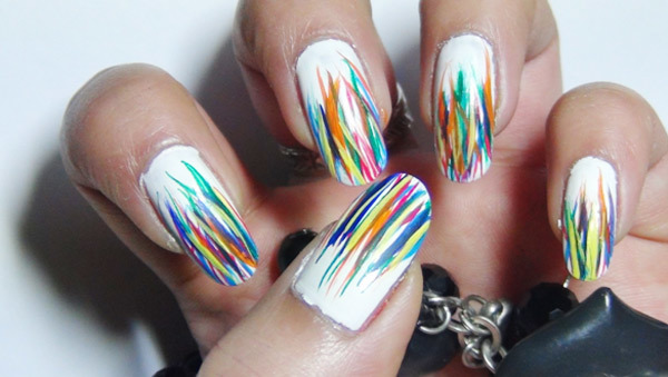 - Multicolor Stripes Design Nail Art