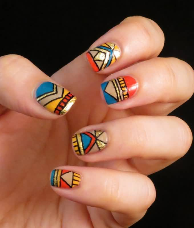 Multicolor zebra print nail art multicolor tribal nail art design prinsesfo Image collections