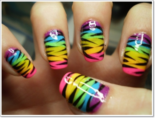 Multicolor Zebra Stripes Nail Art Design
