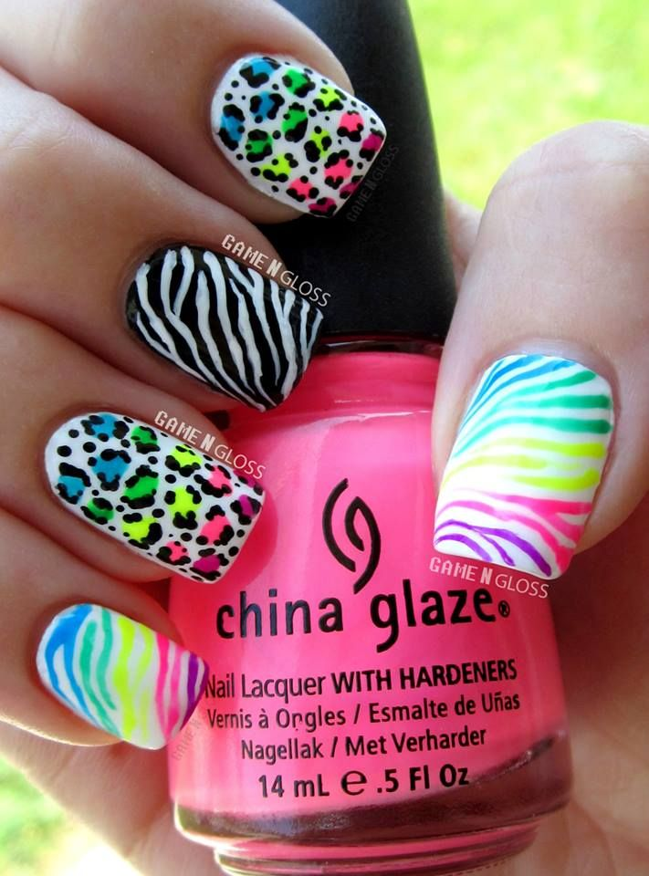 40 latest neon nail art designs neon animal print nail art design prinsesfo Choice Image