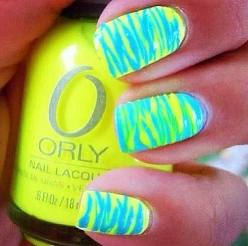 Neon Blue And Green Stripes Design Nail Art