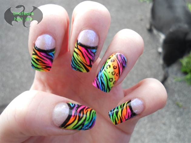 Neon Color Animal Print Nail Art Design