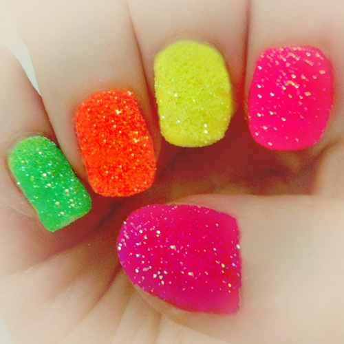 Neon Color Sparkle Nail Art Design