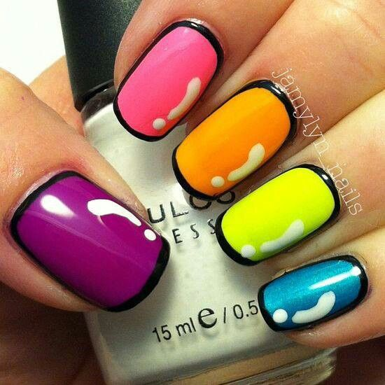 Neon Colors Nail Art Design With Black Outline Design