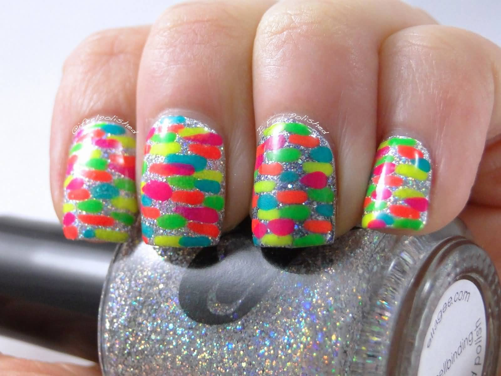 Neon Dots Nail Art Design Idea