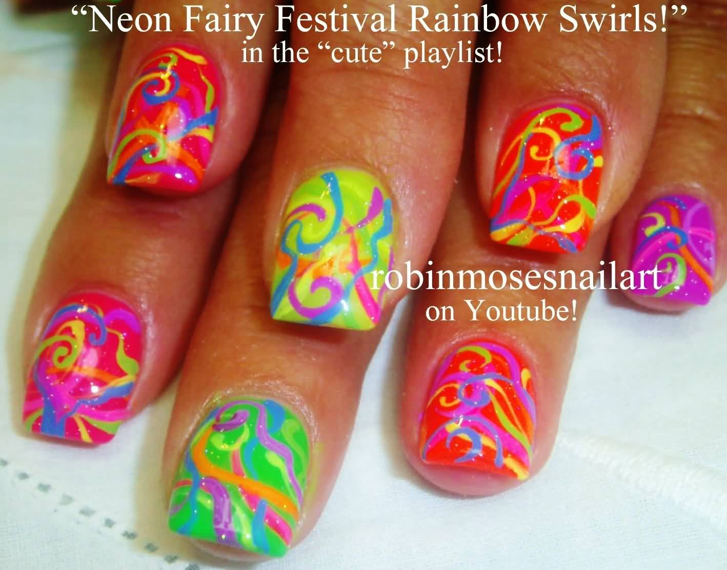 Neon Fairy Festival Rainbow Swirls Nail Art