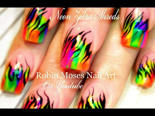 Neon Flame Design Nail Art