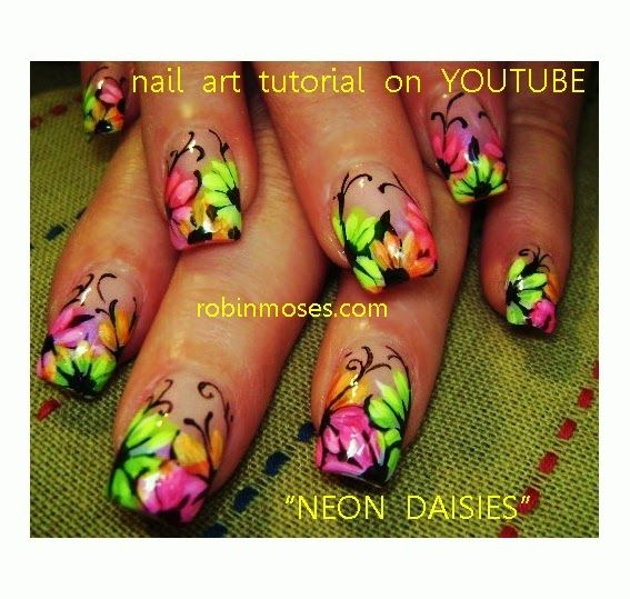 Neon Flowers Nail Art Design Idea